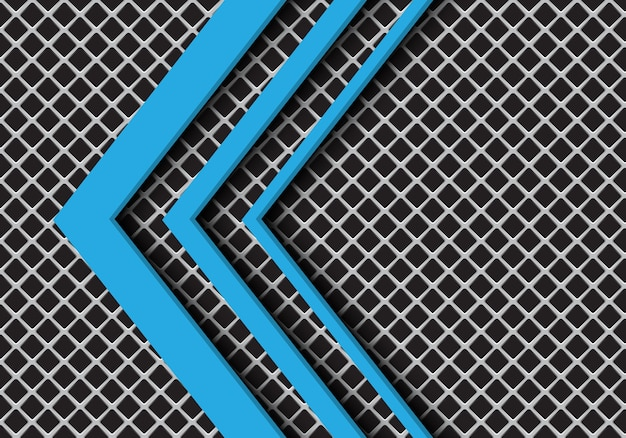 Blue arrow direction on grey square mesh background.