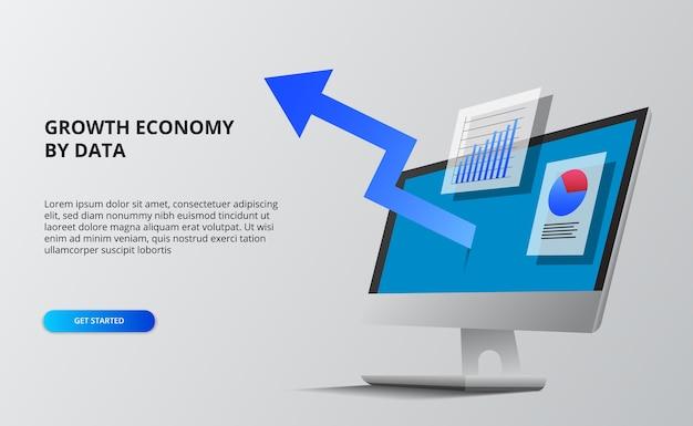 青い矢印の経済成長。財務およびインフォグラフィックデータ。透視等角投影のコンピュータ画面。