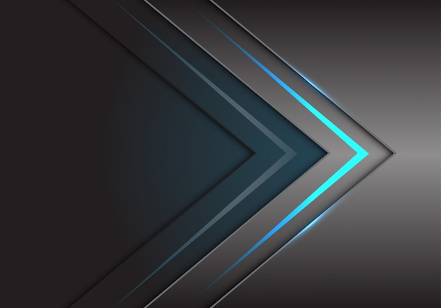 Blue arrow light direction on grey metallic technology.