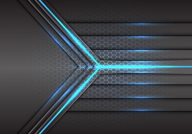 Синяя стрелка света лазерного луча с шестигранной сетки фоном.