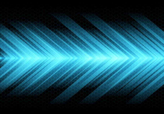 Blue arrow light speed on dark hexagon mesh background.
