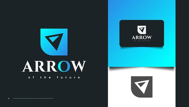 Blue arrow logo design in modern concept for business logo or ion