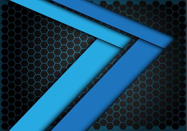 Blue arrow speed direction on hexagon mesh background.
