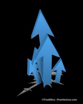 Blue arrows growing