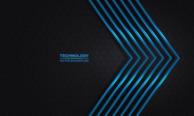 어두운 6 각형 추상 그리드 배경에 파란색 화살표. 미래 지향적 인 현대 파란색 금속 화살표와 어두운 회색 벌집 배경.