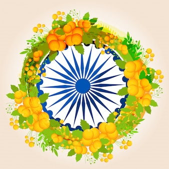 Blue ashoka wheel decorated with floral elements for happy independence day celebration.