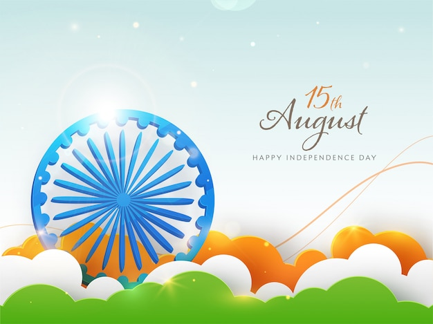 Blue ashoka wheel with lights effect and indian tricolor paper cut clouds on blue background for august, happy independence day.