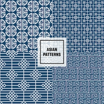 Blue asian patterns design