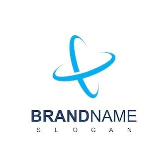 Blue atom logo design template
