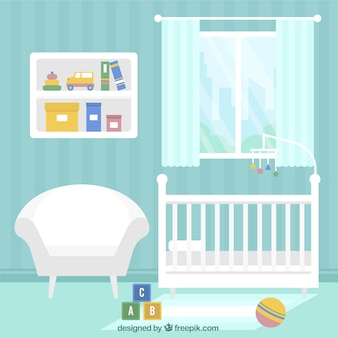 Blue baby room with white furniture