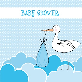 Blue baby shower card with stork and clouds