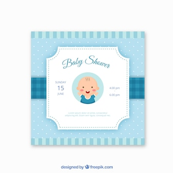 Invito doccia blu baby