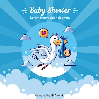 Blue baby shower template for boy
