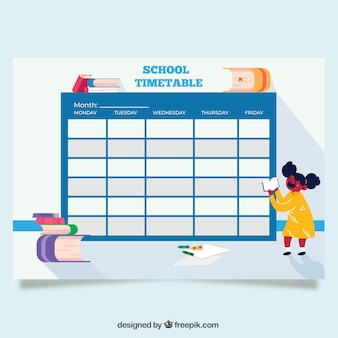 Blue back to school timetable template