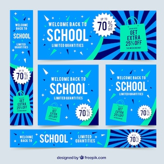 Blue back to school web banners