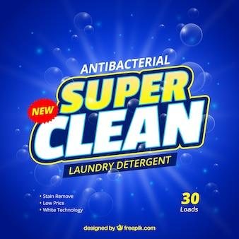 Blue background of antibacterial detergent Premium Vector