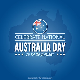 Blue background for australia day with map and round flag
