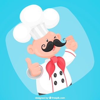 Blue background of chef character with mustache
