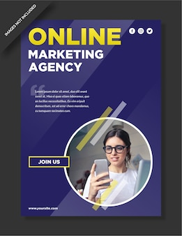 Blue background digital marketing agency poster and flyer design