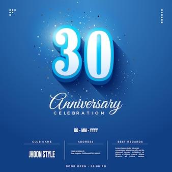 30주년 축하 초대장을 위한 파란색 배경 에디션