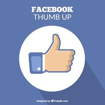 Синий фон с пальцем вверх от facebook