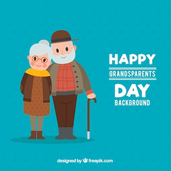 Blue background of happy couple of grandparents