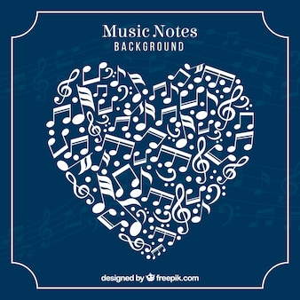 Blue background of heart made of musical notes