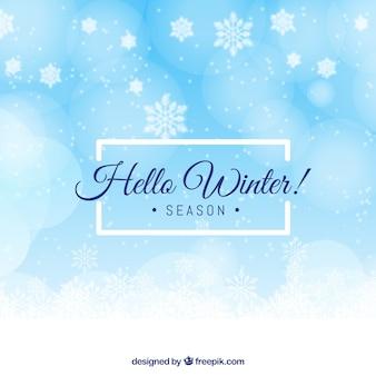 Blue background hello winter season