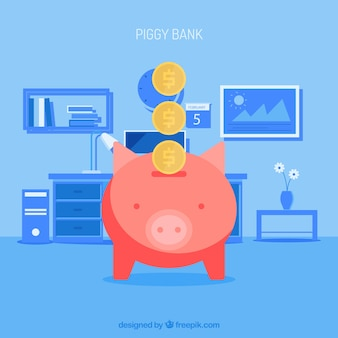 Blue background of house with piggy bank