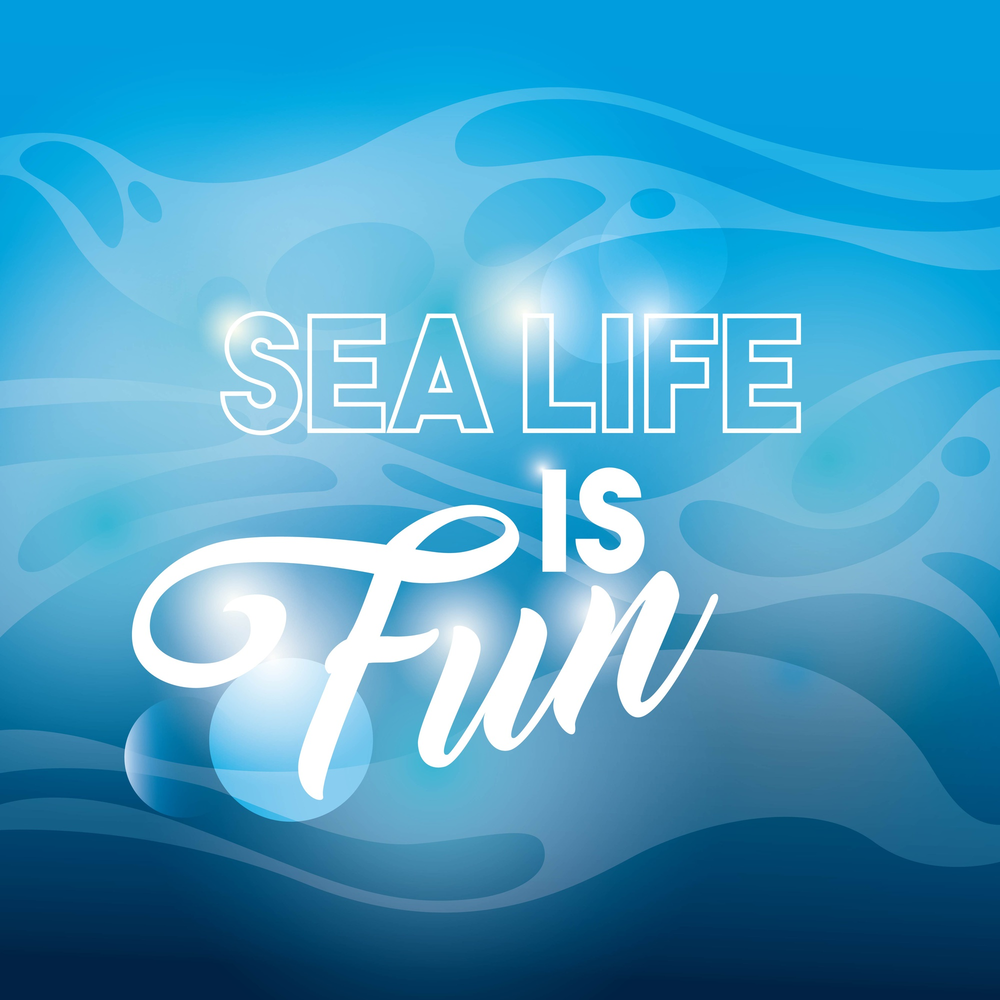 Blue background icon. Sea life design. Vector graphic