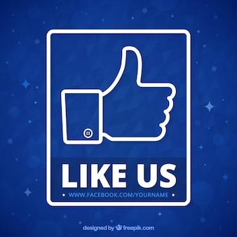 Sfondo blu di simbolo facebook like
