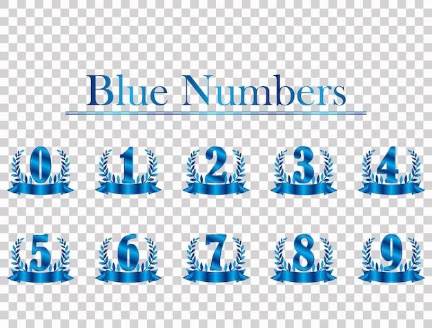 Blue background number isolated from transparent background.