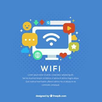 Wifiと要素を持つコンピュータの青い背景