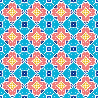 민족 장식 및 장식 패턴의 파란색 배경