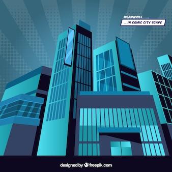 コミックスタイルで超高層ビルのブルー背景