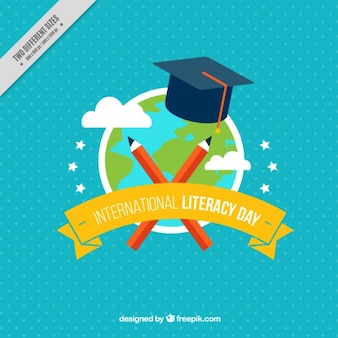 Blue background of world and mortarboard for international literacy day