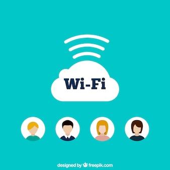 Blue background of wifi in flat design