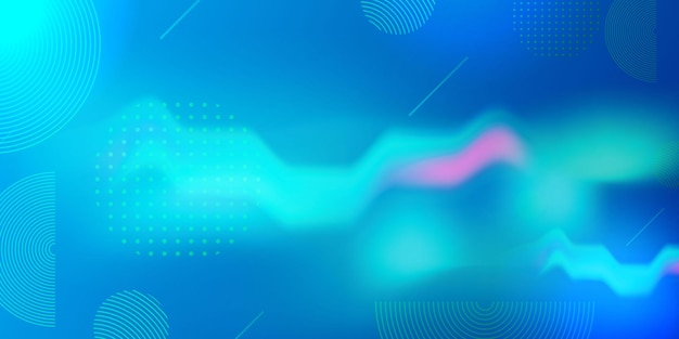 Blue background with abstract wave shapes.