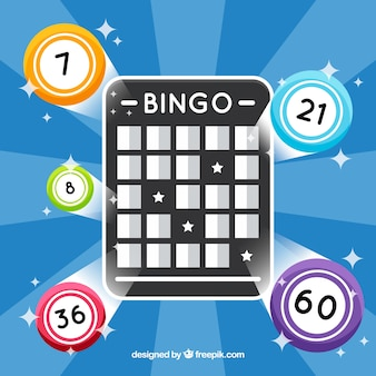 Blue background with bingo balllot and ball