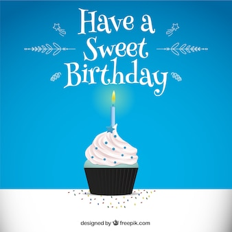 Blue background with birthday cupcake