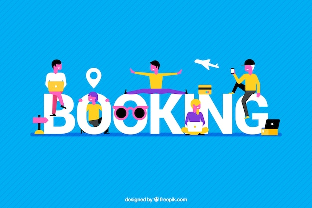 Blue background with booking word