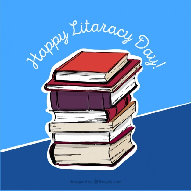 Blue background with books for literacy day