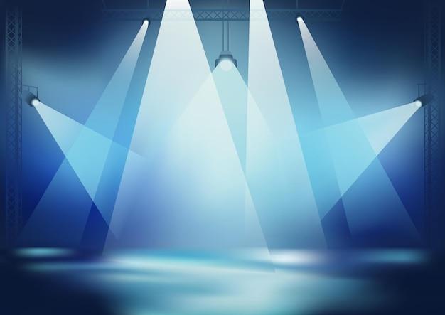 밝은 무대 조명이 있는 파란색 배경