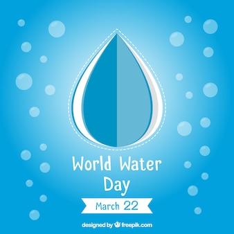 Синий фон с пузырьками капли воды