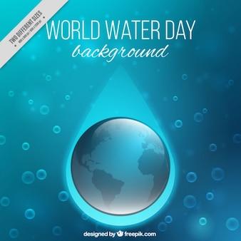 Синий фон с пузырьками воды мира день