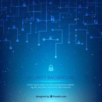 Blue background with circuits and padlocks
