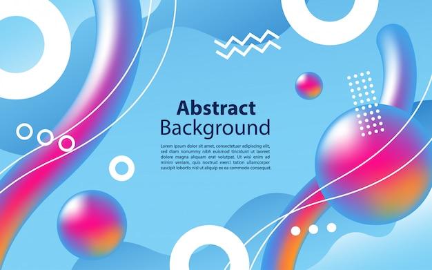 다채로운 유체 그래픽 모양 배경 디자인으로 파란색 배경