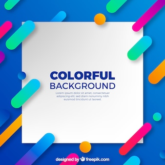 Blue background with colorful shapes in flat design