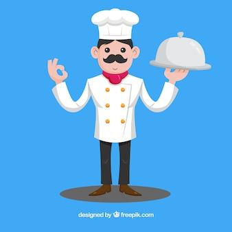 트레이 들고 요리사와 함께 파란색 배경