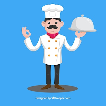 Blue background with cook holding a tray